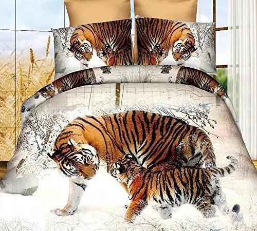 3d snow winter tiger conjunto de edredón de poliéster estab