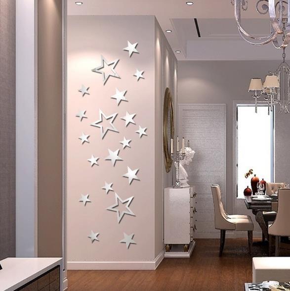 3d Star Multicolor Diy Formas Espejo Wall Stickers Casa Dorm