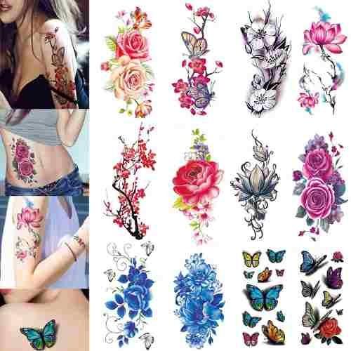 3d Tatuajes Temporales Para Mujeres Flores Grande Lotus R