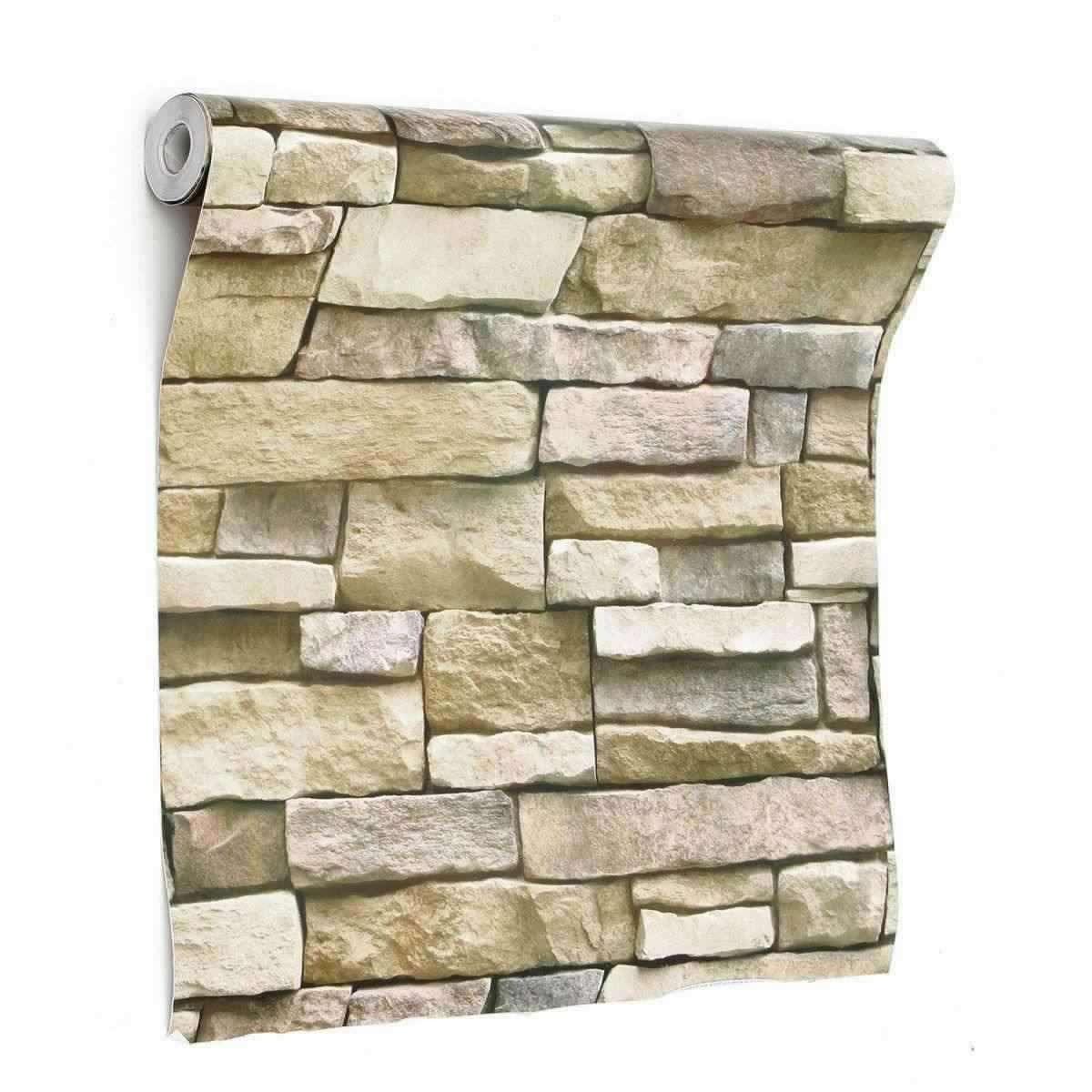 3d Wall Paper Brick Stone Pattern Sticker Rolls Self Adhesiv
