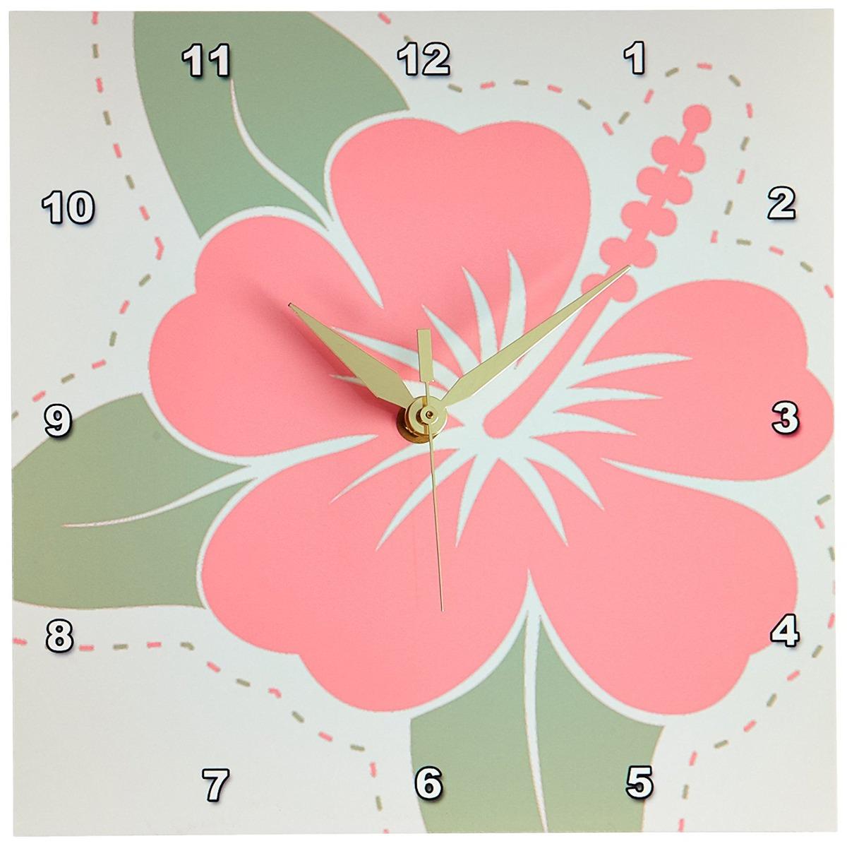 3drose Dpp443301 Pink Hawaiian Flowers On A Light Gray Bac