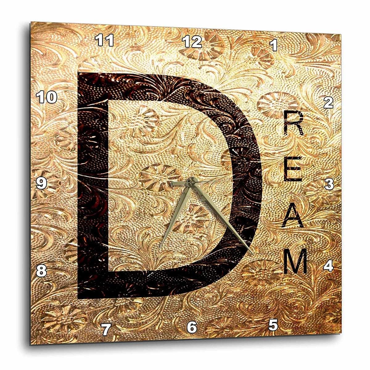 3drose Gold Metal Dream - Inspired Word Art - Wall Clock, 13 ...