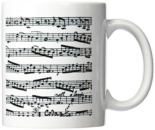 3drose Mug_ _1 Música Observa Patrón Blanco Y Negro Hoja De ...