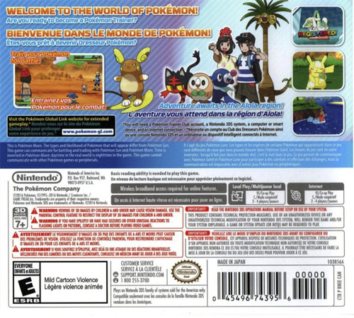 3ds pokemon moon videojuego nintendo 3ds