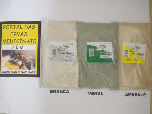 3kg de argila medicinal 1kg verde  1kg branca 1kg amarela