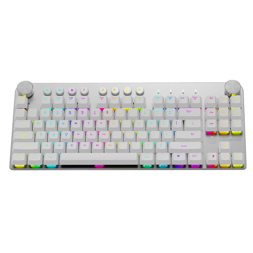 105 Teclas Espa/ñol Teclado Mec/ánico con Cable Retroiluminado Retroiluminaci/ón LED RGB Siete Colores Teclado Mec/ánico para Juegos