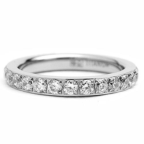 3mm ladies titanium eternidad compromiso de la banda, anill