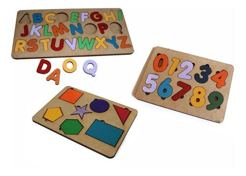 3pçs alfabeto+ numero+ formas geométricas brinquedo pedagógi