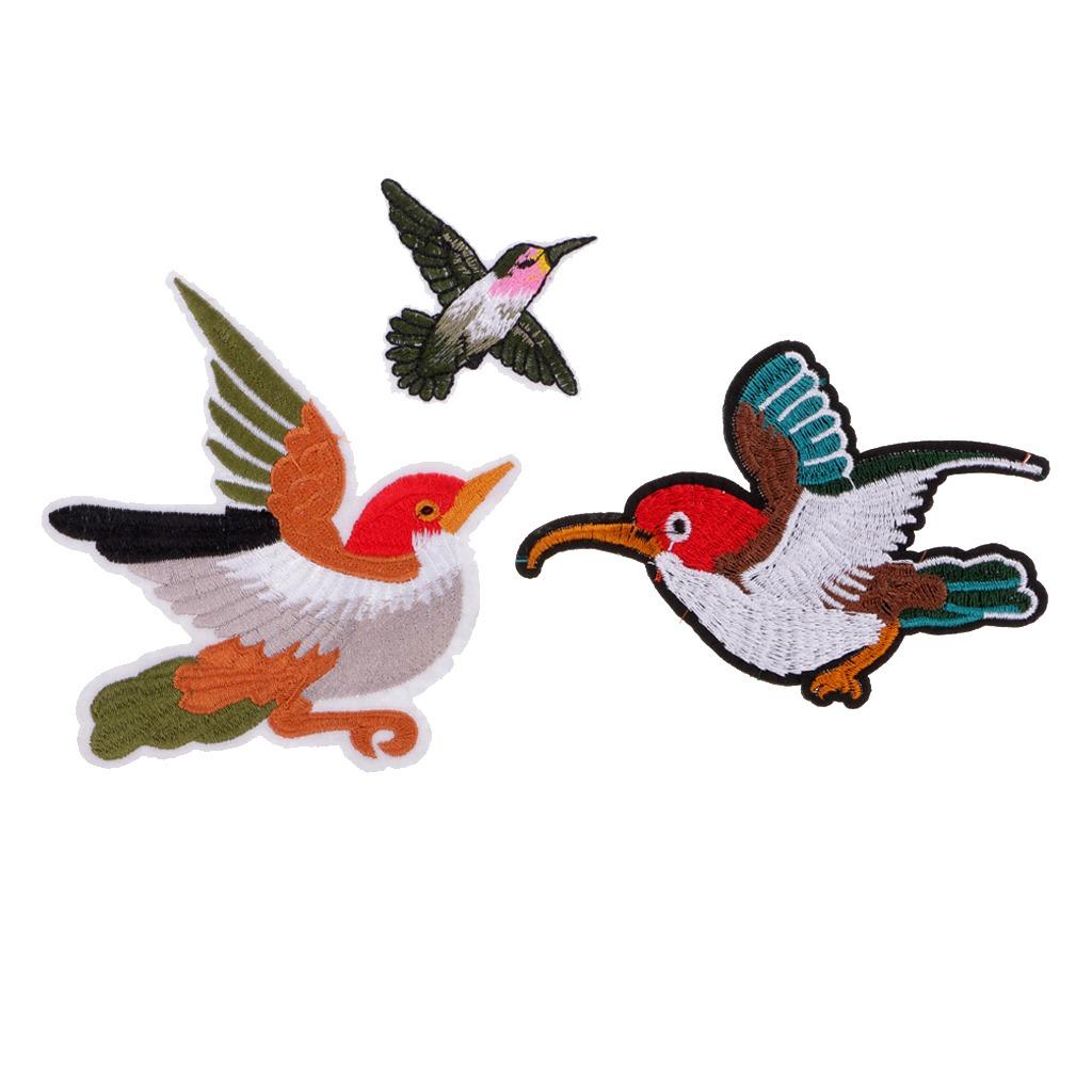 3pcs Bordado Patrón Pájaro Parches Diy Coser Hierro En Apl ...