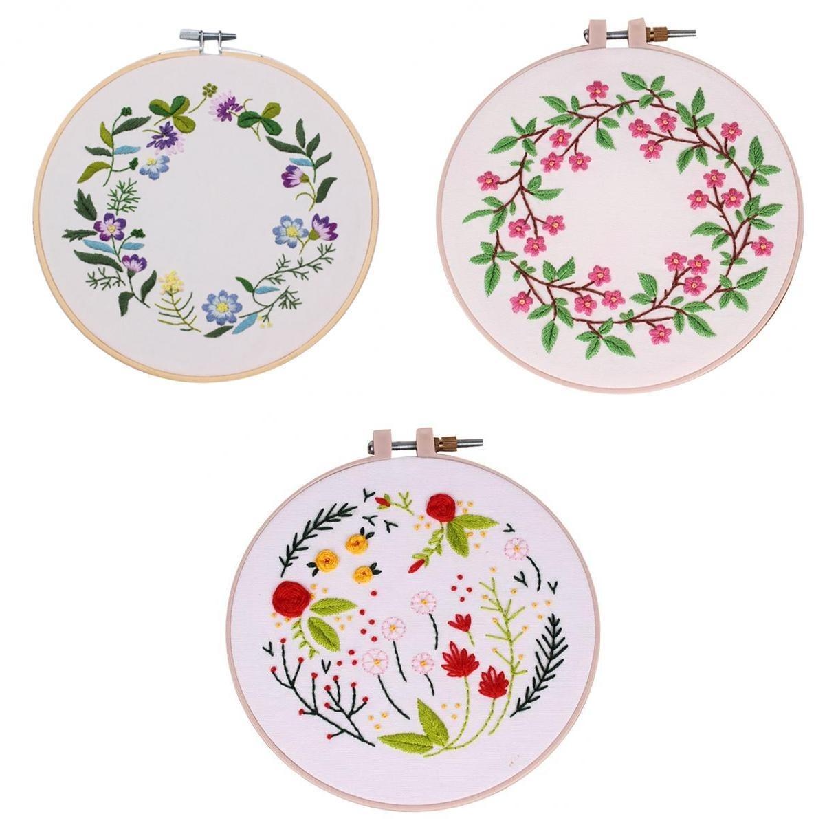 3pcs Hoja Y Bordado A Mano Floral Patrón De Punto De Cruz K ... 009d697811c19