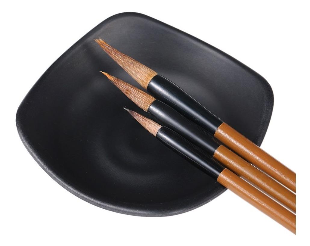 3pcs chino japonés tinta agua pinturas escritura caligrafía pincel plumas marrón