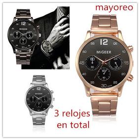 Cuarzo Migeer 3pcs Casual Reloj Hombres Acero De Moda hrtQdsC