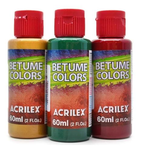3x betume colorido acrilex colors mahogany 958 60ml efeitos