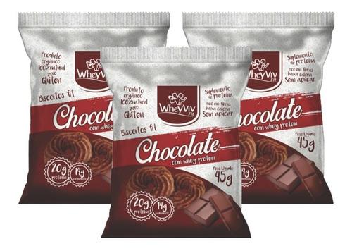 3x biscoito chocolate orgânico s/ glúten zero açúcar wheyviv