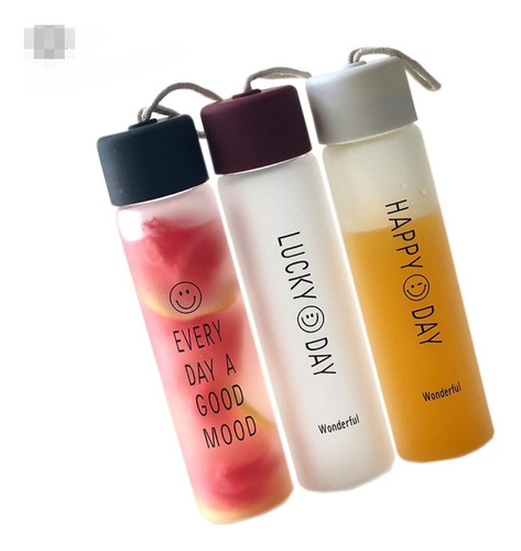 3x botella de vidrio hermética tapa rosca diseños reutiliza