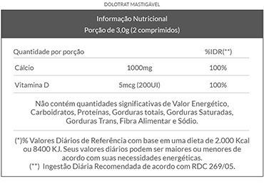 3x cálcio 500mg + vit. d mastigável - 60 comp - dolotrat