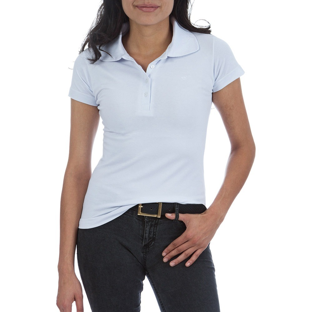 b64998f226 3x Camisas Polo Feminina Branca Lisa - P-m-g-gg - R  62