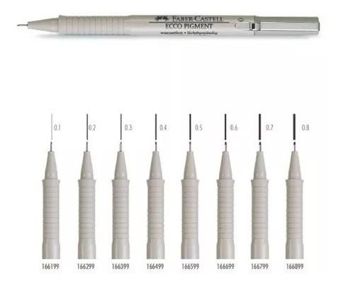 3x caneta nankin faber castell ecco pigment 0,1 mm