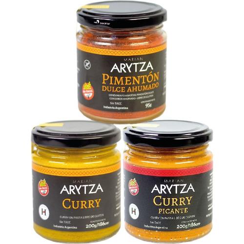 3x curry arytza suave o picante o pimentón - sin tacc