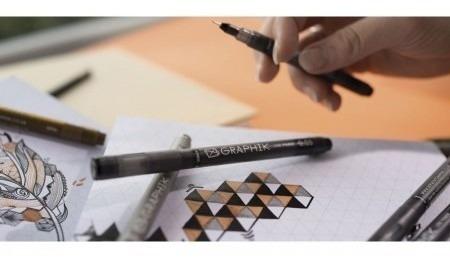 3x derwent caneta nankin graphik line maker 0.1 preta