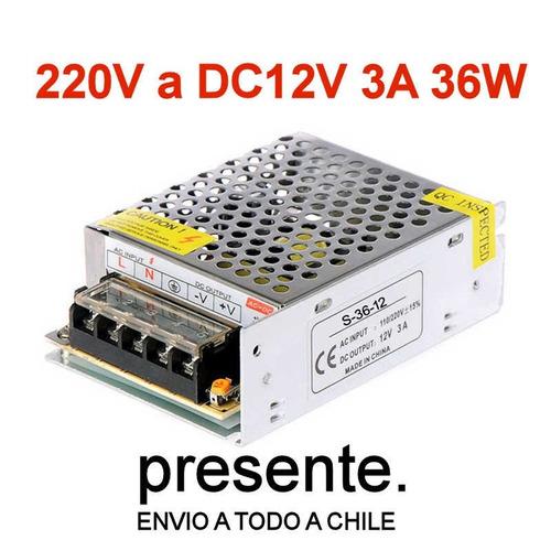3x fuente de poder 12v 3a 36w cintas led cámaras