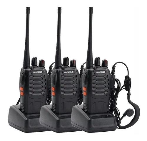3x handy baofeng walkie talkie bf-888s manos libres 3w 10km