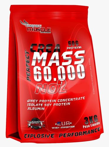 3x hipercalórico crea mass 60.000 no2 3kg + coq - perfect