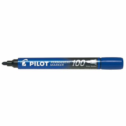 3x marcador permanente pilot vidro metal redonda azul