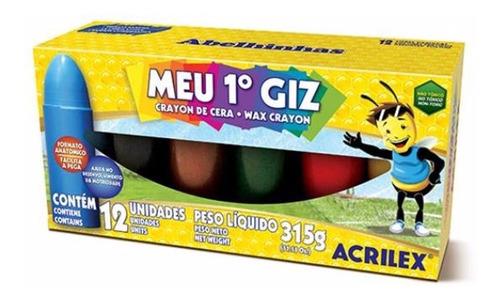 3x meu 1° giz de cera crayon acrilex 12 cores
