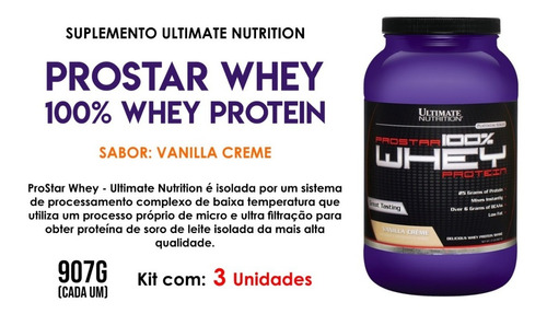 3x prostar whey baunilha ultimate nutrition 907g