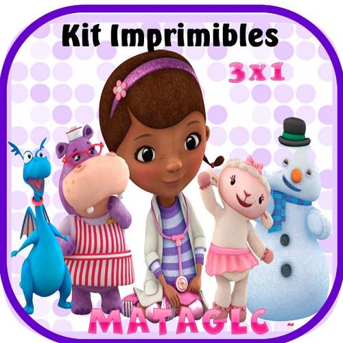 3x1 kit imprimible doctora juguetes tarjetas cajas cupcakes