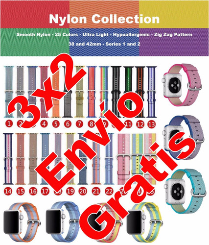 3x2 correa extensible para watch nylon 38/42mm promocion
