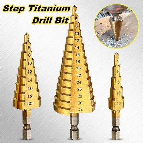 Hex Titanium Coated Step Cone Drill Bit Hole Metal Wood Cutter 4-20mm HSS Tool