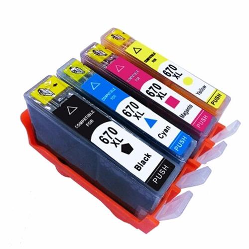 4 670xl cartuchos impressoras 3525 4625 4615 5525 4 cores