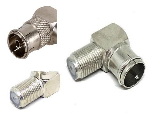 4 adaptador conector f cabo  antena tv 90 graus l coaxial