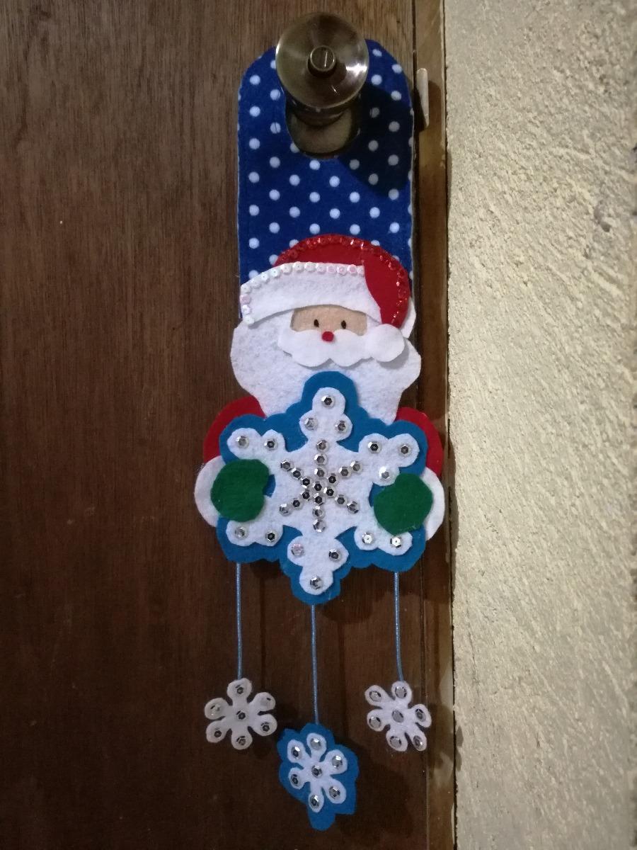 4 adornos navide os de fieltro santa claus envio gratis for Arreglo para puertas de navidad