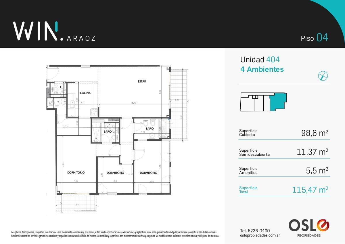 4 ambientes 115m2 con amenities.