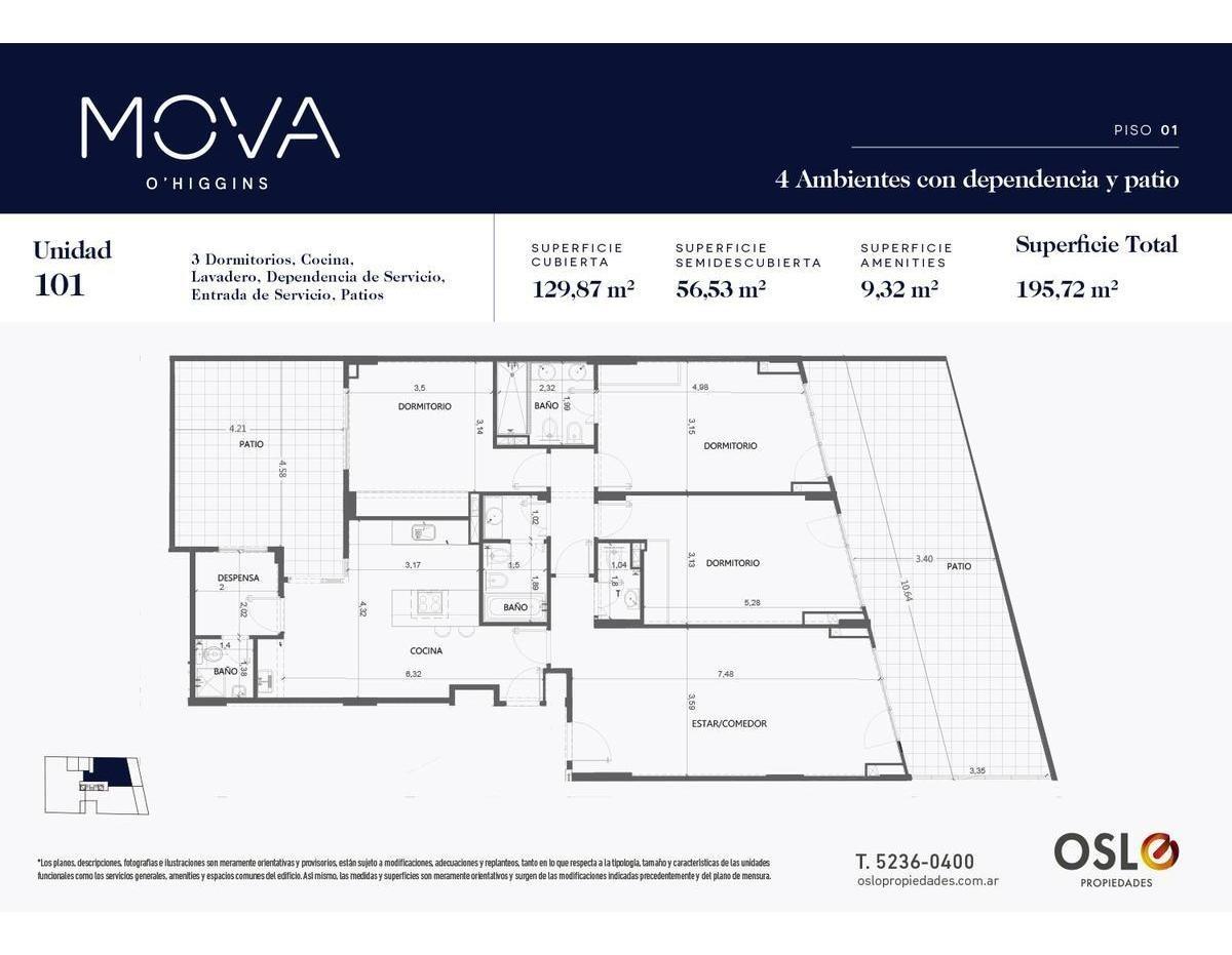 4 ambientes 196m2 con dependencia patio y terraza en belgrano