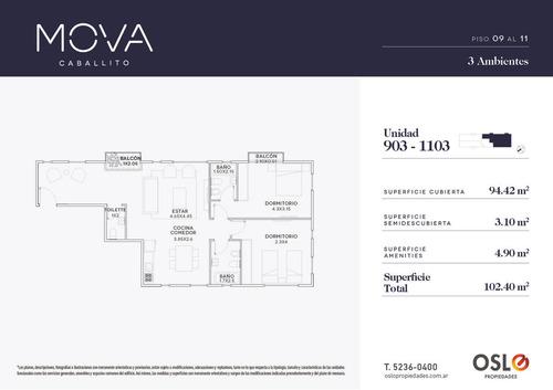 4 ambientes de 101m2 en emprendimiento premium en caballito