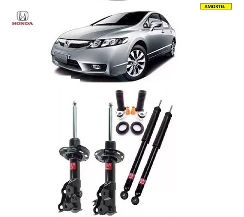 4 amortecedores + kits batentes do honda new civic ano 06/11
