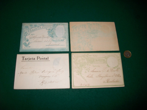 4 antiguos sobres para enviar tarjetas postales .