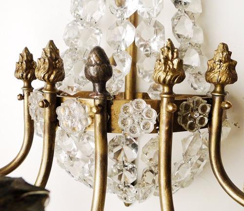 4 apliques francés imperio bronce boton plaqueta flor vidrio