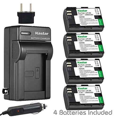 4 baterias + cargador kastar para canon lp-e6, lpe6 e6