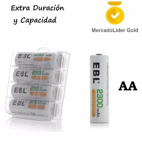 4 baterias recargables aa ebl | extra duracion | 2300mah