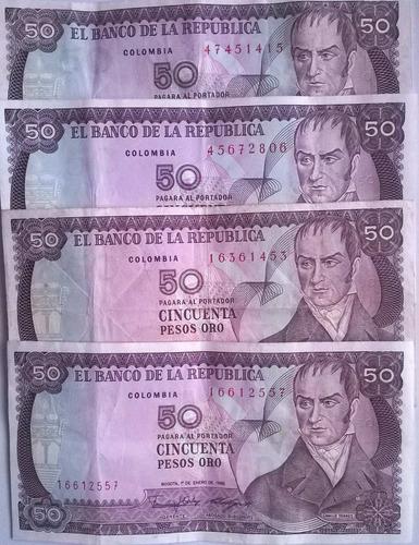 4 billetes de colombia 50 pesos mismo día de expedición 1986