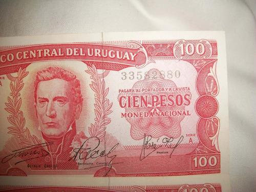 4 billetes uruguayos antiguos correlativos  lote $400