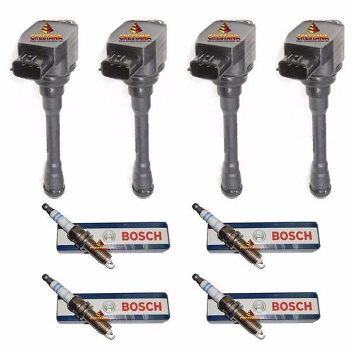 4 bobinas + 4 velas nissan grand livina 1.8 16v vr7spp33