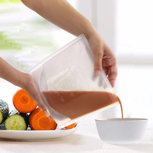 4 bolsas de silicona reusable para alimentos tipo ziploc