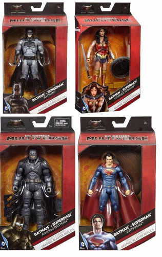 4 bonecos dc multiverse - batman vs superman wonder woman e+