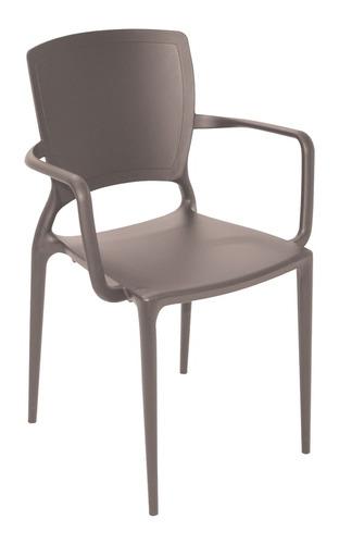 4 cadeira plástico bracos sofia marrom tramontina 92039109